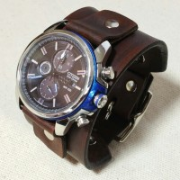 Leather Watch Cuff (with curved buckle) Band