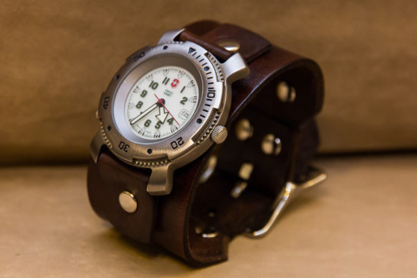Leather Watch Cuff -Brown