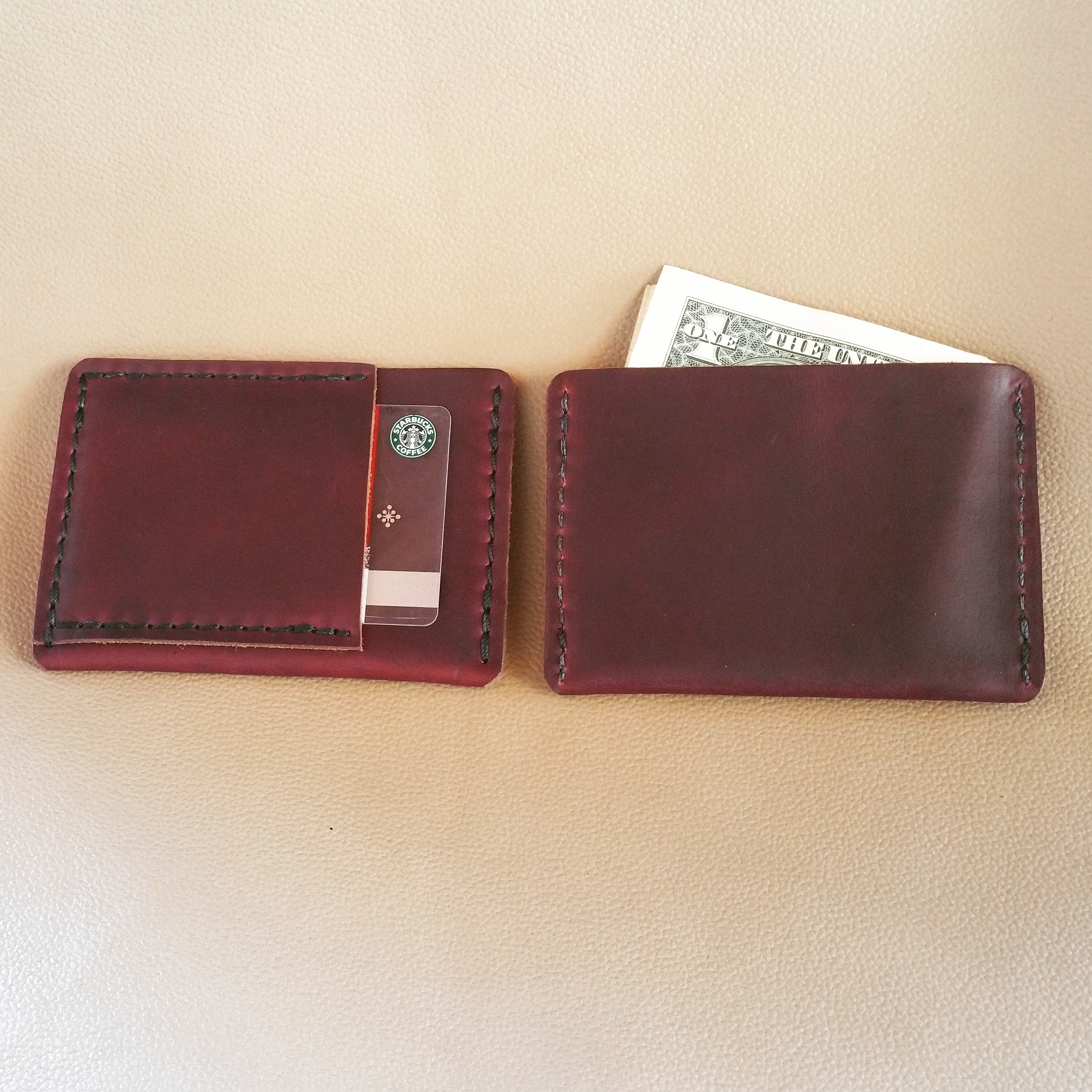 ultra slim wallet horween leather techleathercraft