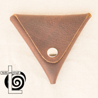 Pebbled Brown Leather Coin Pouch