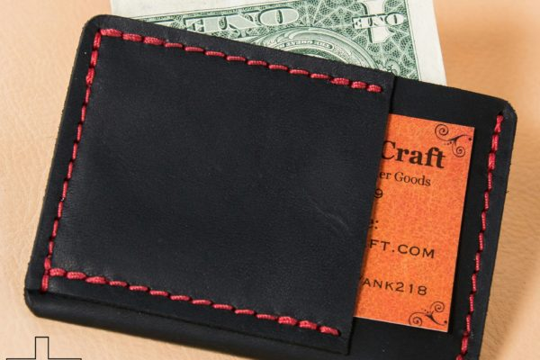Black Horween Chromexcel Red Stitching Ultra-Slim Wallet Leather