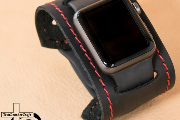 Smooth Black Red Stitching Slip-On Smartwatch Cuff
