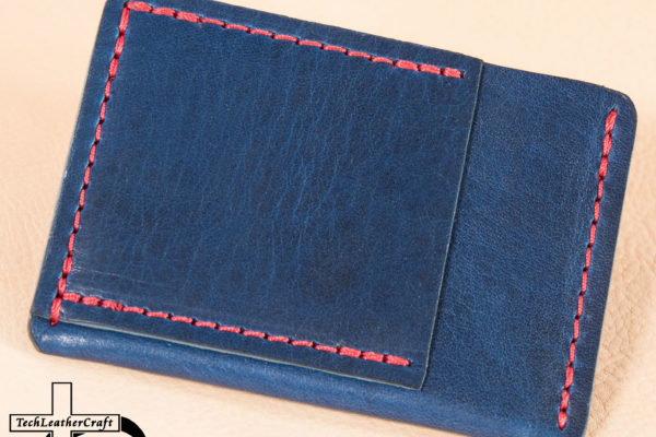Leather Blue Horween with Red Stitching Ultra Slim Wallet​