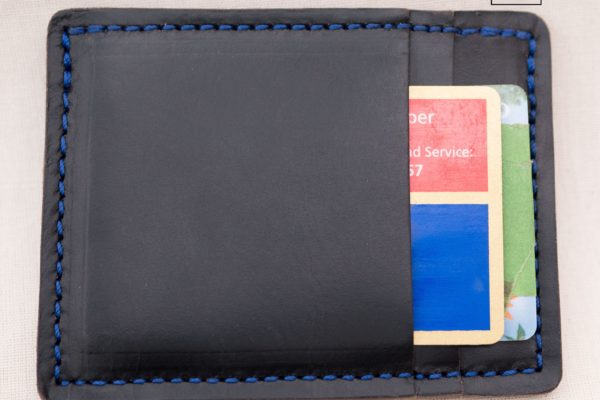 Black Horween Chromexcel Slim Wallet Blue Stitching