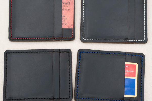 Black Horween Chromexcel Wallet Blue Stitching