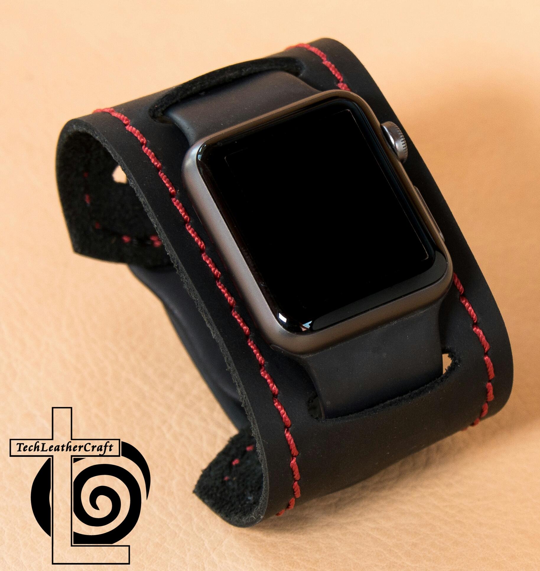 bcba33d19 Smooth Black Red Stitching Slip-On Smartwatch Cuff · Moto 360 Apple Watch  Samsung Gear S2 LG Watch R Urbane Leather ...