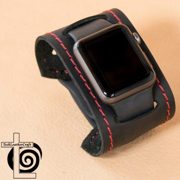 Smooth Black Red Stitching Slip-On Smartwatch Cuff