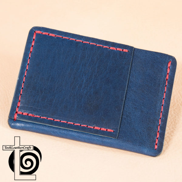 Leather Blue Horween with Red Stitching Ultra Slim Wallet