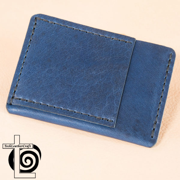 Blue Horween with Black Stitching Ultra Slim Wallet Leather