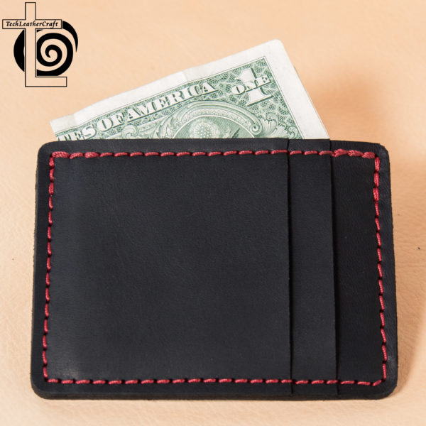 Black Horween Chromexcel/Red Stitching Multi-Slim Wallet