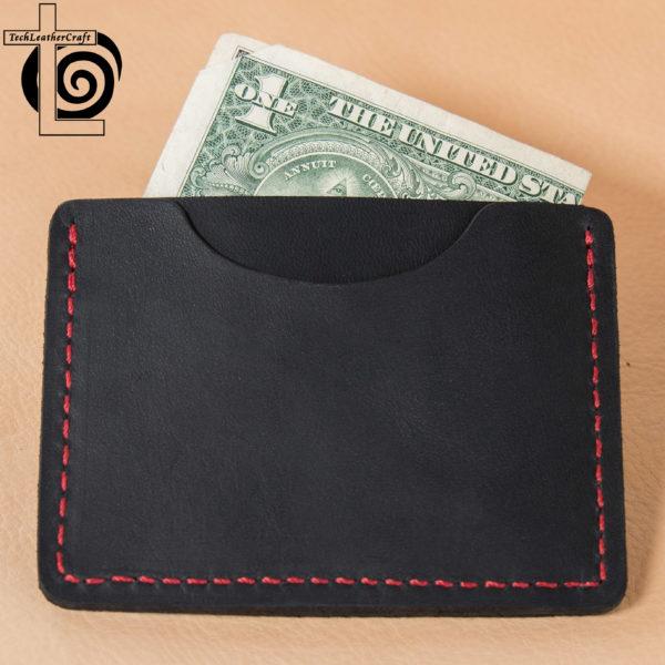 Black Horween Chromexcel/Red Thread Stitching Multi-Slim Wallet