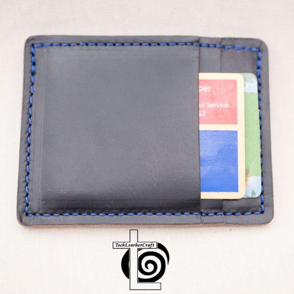 Black Horween Chromexcel Slim Wallet Blue Stitching