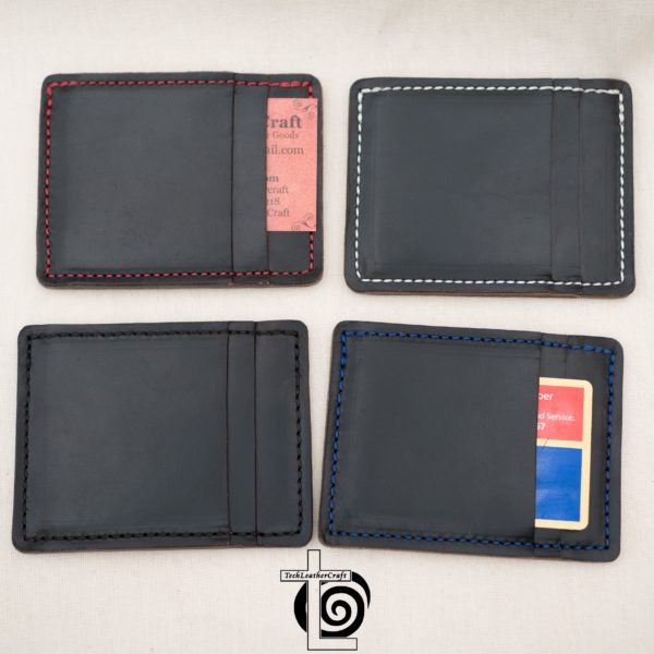 Black Horween Chromexcel Wallet Blue Stitching